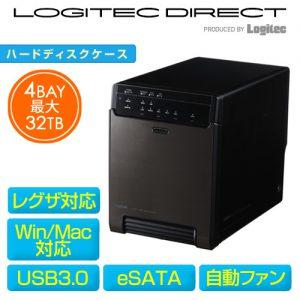 Logitec HDDケース 3.5インチ (HDD4台用) USB3.0 + eSATA接続 ガチャベイ LHR-4BNHEU3 送料込9980円
