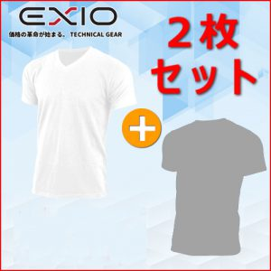 EXIO Vネック&ラウンドネック Tシャツ 2枚セット 【送料無料】