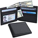 【特価】Kinzd 二つ折り財布 カーボンレザー RFIDブロッキング 薄いタイプ 紙幣とカード収納 ビジネス用 メンズ 1,918円【ファッション】
